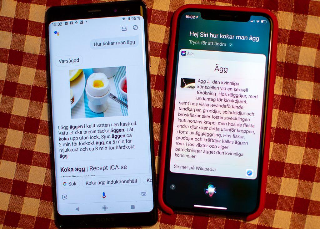 Hur kokar man ägg, frågar jag. Googles assitent ger äggkokningsråd, Siri berättar om kvinnliga könsceller.
