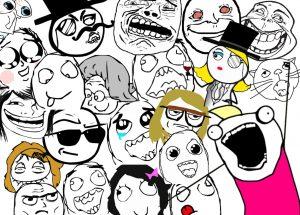 Kollage av meme-ansikten