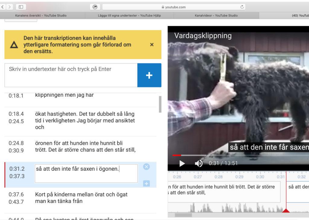 undertexter redigeras på Youtube