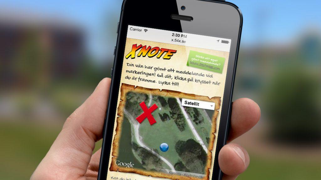 Mobil med appen X-note