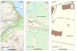 Abisko fjällstation på kartan i olika nivåer