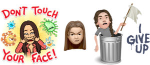 Tre olika avatarer, alla sura.