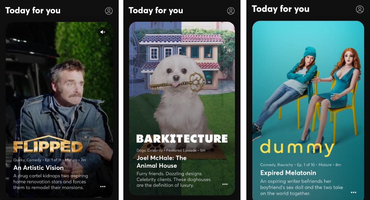 bild på tre serier från appen Quibi