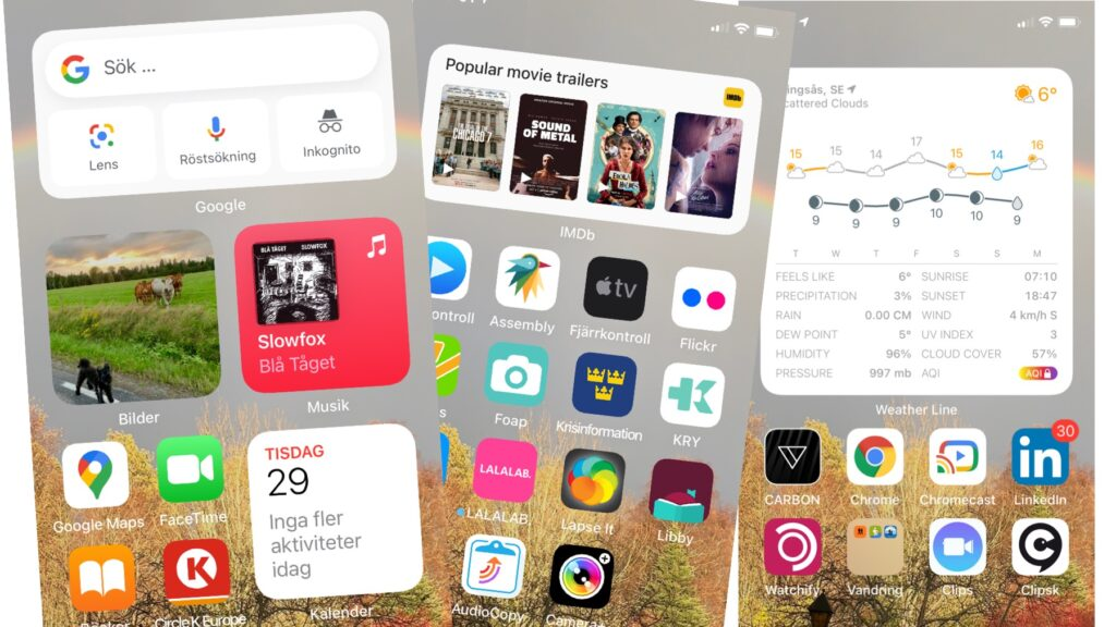 Skärmbilder med widgets
